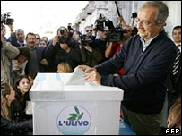 Rome Mayor Walter Veltroni votes in Rome on 14 October 2007