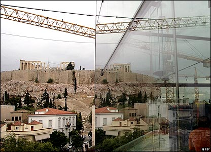 Glass from the new Acropolis Museum reflects the Parthenon