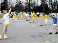 Girls playing netball