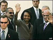 Condoleezza Rice met by Palestinian officials in Ramallah