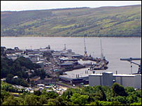 Faslane Naval Base on the Clyde