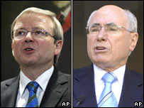 Kevin Rudd (L) and John Howard (R) file pics