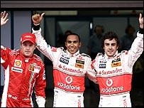 Formula One title contenders Kimi Raikkonen, Lewis Hamilton and Fernando Alonso