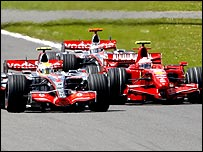Lewis Hamilton leads Kimi Raikkonen and Fernando Alonso at the British Grand Prix in July