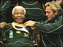 Nelson Mandela and Percy Montgomery