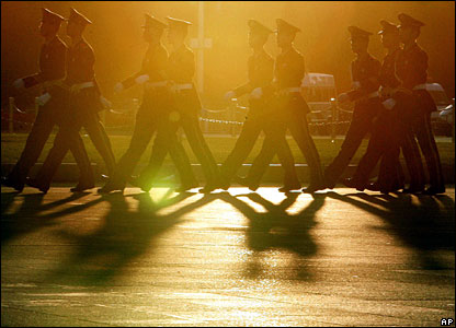 Paramilitary soldiers marching in Tiananmen Square, Beijing