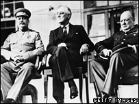 Stalin (left), Roosevelt (centre) and Churchill (right) at the Tehran summit of 1943