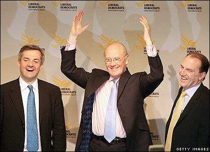 Sir Menzies Campbell (centre), with Chris Huhne (left) and Simon Hughes