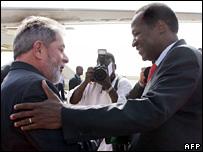 Brazil's President Luiz Ignacio Lula da Silva and Burkina Faso President Blaise Compaore