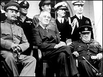 (left to right) Stalin, Roosevelt, Churchill