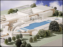 Model of Olympic-sized pool
