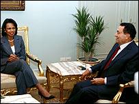 رايس مع الرئيس حسني مبارك