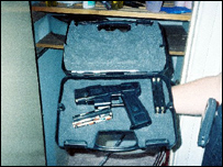 One of the guns found at the home of gun smuggler Amjad Hussain