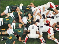 South Africa and England srummage during their group match