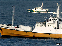 Odyssey Marine Exploration's vessel leaving Gibraltar