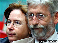 Amelie Delagrange's parents Jean-Francois Delagrange (R) and his wife Dominique arrive at the Old Bailey on 15 October