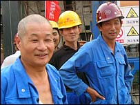 Chinese construction workers in Luanda