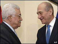 Mahmoud Abbas and Ehud Olmert
