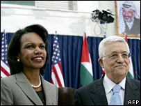 Condoleezza Rice and Mahmoud Abbas