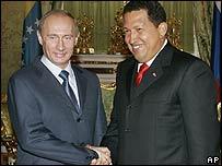 Presidentes de Rusia, Vladimir Putin y de Venezuela, Hugo Chávez