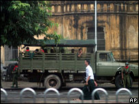 Troops and a military truck in Rangoon on 1 October 2007
