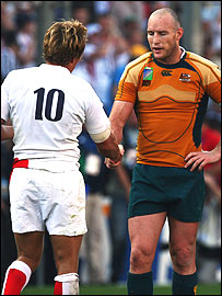 Stirling Mortlock (right) and Jonny Wilkinson