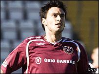 Hearts striker Mauricio Pinilla