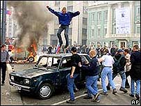 Fans rioting in Moscow in 2002
