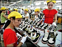 Workers making Nike shoes in Vietnam