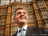 Chris Huhne outside the Houses of Parliament.