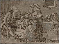 "Illustration depicting married life from ""The honours of the table"""