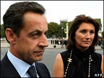 French President Nicolas Sarkozy with his wife Cecilia in August 2006