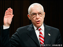 Judge Michael Mukasey is sworn in before his Senate committee hearing last month