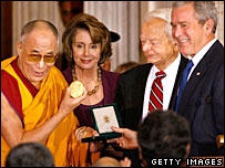 The Dalai Lama, House Speaker Nancy Pelosi, Sen Robert Byrd and US President George W Bush