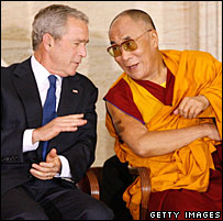 US President George W Bush and the Dalai Lama