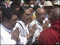 Kyaw Thu (L) and Zagana (third from left) during anti-government protests