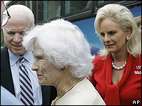 John McCain with mother Roberta and wife Cindy