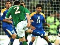 Steve Finnan volleys home the equaliser for the Republic