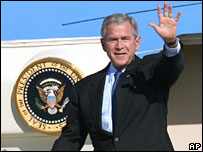 President George W Bush by Air Force One