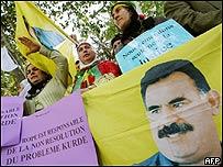 Protesta en Estrasburgo, Francia, pidiendo la liberaci�n del l�der kurdo Abdullah Ocalan