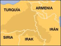Mapa del �rea donde habitan los kurdos