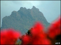 The peak of Mount Kelud seen from Blitar village, East Java, 16th Oct