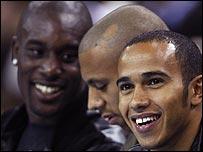 Footballers Carlton Cole and Anton Ferdinand joined Lewis Hamilton at the recent NBA game at the O2 Arena