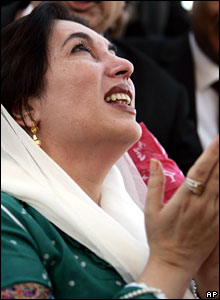 Benazir Bhutto touches down in Karachi