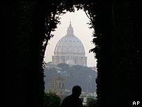 View of St Peter's Basilica from a church in Rome