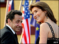 Mr and Mrs Sarkozy at a garden party at the Lycee