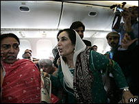 Benazir Bhutto on aircraft in Pakistan