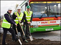 Transport Minister Stewart Stevenson, Cllr Russell Imrie and Cllr Phil Wheeler