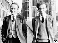Dr Francis Crick, left, and Dr James Watson in Cambridge. Picture is undated.