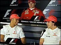 (l-r) Lewis Hamilton, Kimi Raikonnen and Fernando Alonso